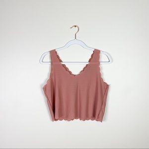 TOPSHOP women's tank top mauve US 6 scallop blouse